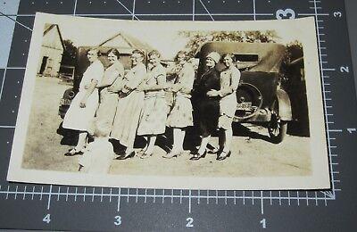 Used, 1920's WOMEN in ROW Photo Bomb BOY Funny Girls HUG TRAIN Fashion Vintage PHOTO for sale  Orlando