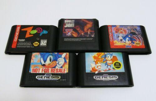 Lot of 5 Sega Genesis games - Sonic the Hedgehog 1 & 2, Spinball, Barkley, Zoop