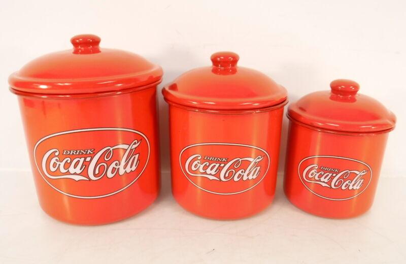 Coca-Cola 6-PC Red Metal Enamel Kitchen Canister Storage Set Coke Soda Red White