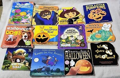 Lot of 12 HALLOWEEN BOARD BOOKS Dora the Explorer DIEGO Barney PEANUTS Max DK ++ - Barney Halloween Book