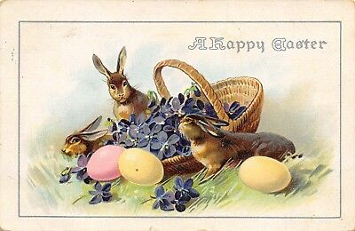 Easter~Bunnies in Grass~Purple Violets in Wicker Basket~Colored Eggs~Embossed