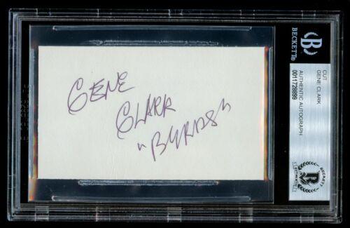 Gene Clark d. 1991 signed autograph 2x3.5 cut Founding Member The Byrds BAS Slab