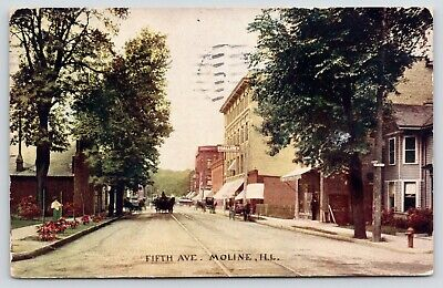 Moline Illinois~Fifth Avenue~Shallene Bros Furniture Store~Horse Wagons~1912