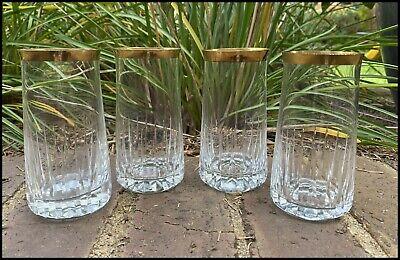 4 Vintage Antique Gilt Trim Cut Crystal Water/Manhattan Glasses Moser? CnBuyMore
