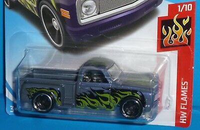 2017 HOT WHEELS Custom '69 Chevy Pickup Col. #11/365 Purple HW Flames 1969 50th