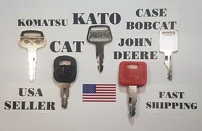 5 Construction Keys Cat Caterpillar John Deere Kato Komatsu Bobcat Case