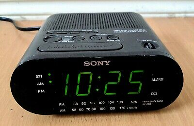 Vintage Sony Dream Machine FM/AM Alarm Clock Radio ICF-C218 w/Auto Time Set