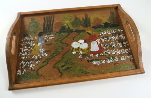 """Vintage Hand-Painted Wooden Folk Art Serving Tray, 14"""" x 9 1/2"""""""