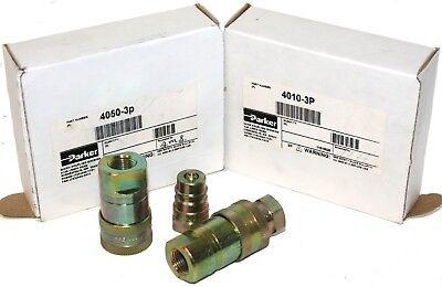 Parker Hydraulic Quick Coupler Set 4050-3p 4010-3p 38 Npt