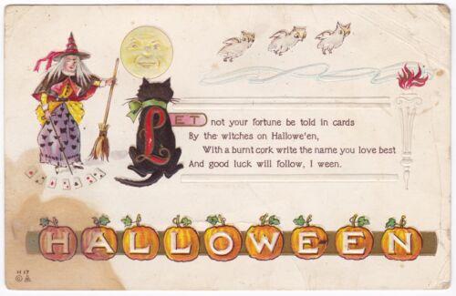 Embossed Postcard Halloween Witch Cat Owls Moon Pumpkins Cards 1910 B9