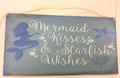 Mermaid kisses and starfish wishes blue beach theme home decor wooden sign 9x17 - Kitchen Decorating Themes