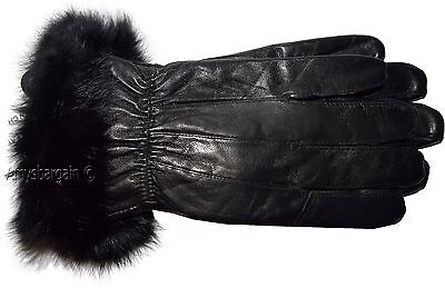 New Size (M) Women's Fur Trimmed leather gloves, Black Warm Winter Gloves BNWT*+