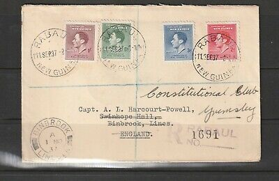 New Guinea 1937 Coronation cover, Not First Day, Registered at Rabual, to UK, re