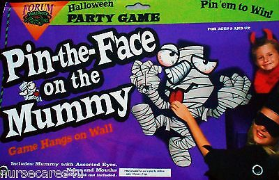 PIN THE FACE ON THE MUMMY HALLOWEEN PARTY GAME HANGS ON WALL PIN EYES NOSE MOUTH