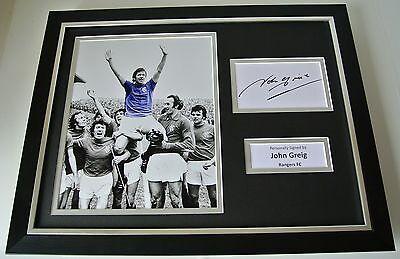 John Greig SIGNED FRAMED Photo Autograph 16x12 display Glasgow Rangers PROOF COA