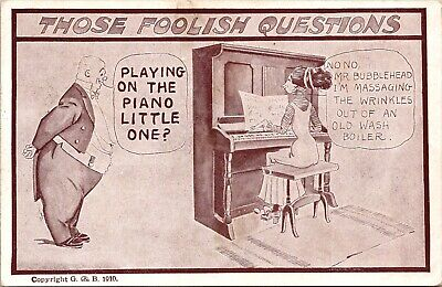 Those Foolish Questions Playing on the Piano Comic Postcard