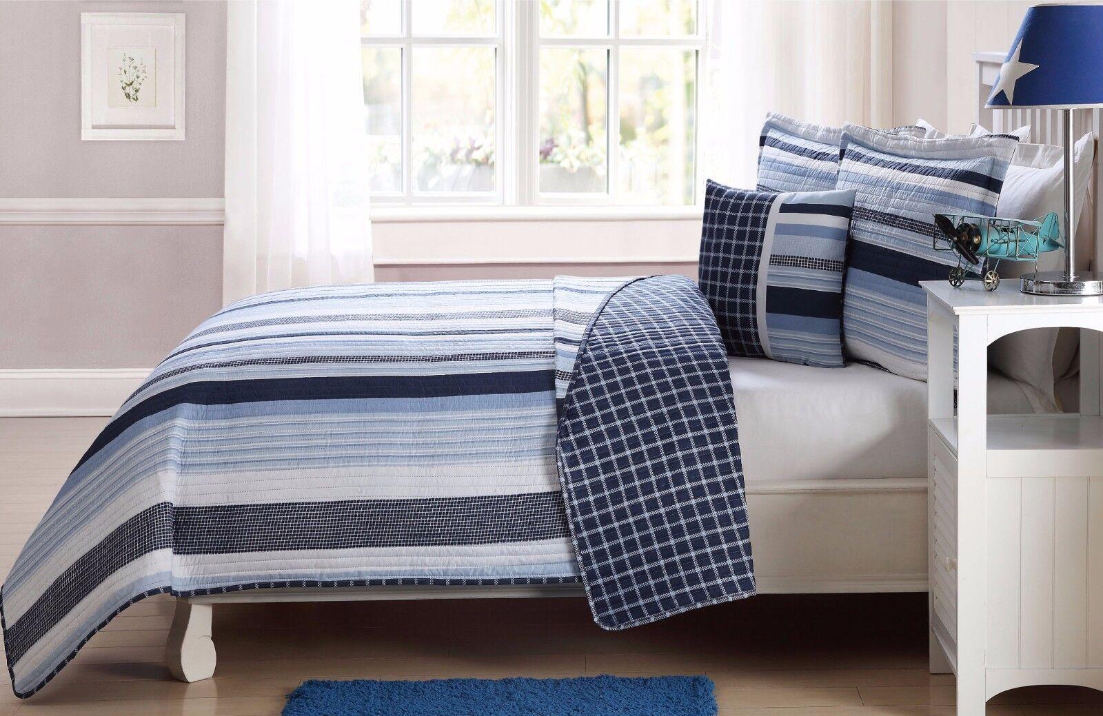 Fancy Linen 4pc Full Size Reversible Bedspread Elegant Strip
