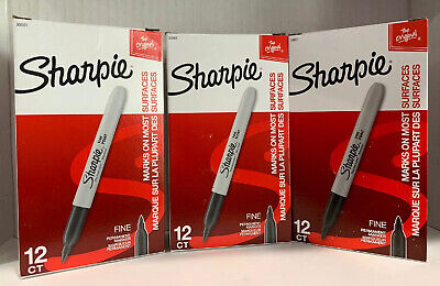 New Original Sharpie Bulk Lot 36 Permanent Markers Fine Point Black Free Ship