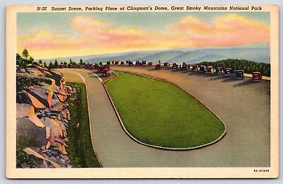 Sunset Dome (Sunset at Clingman's Dome Great Smokey Mountain Park Tennessee Linen Postcard)