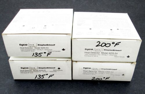 Lot of 4 TYCO Simplex Heat Detectors (2) 4255-54, (1) 4255-53 & (1) 4255-51  NOS