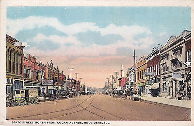 Belvidere   Illinois  1910S   State Street North From Logan Avenue