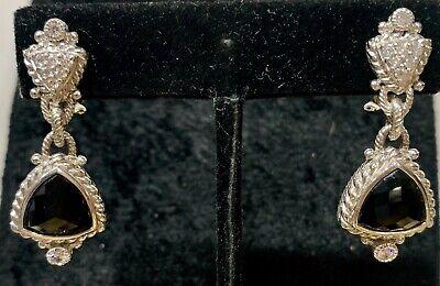 Judith Ripka 925 Sterling Silver Onyx Pierced Earrings