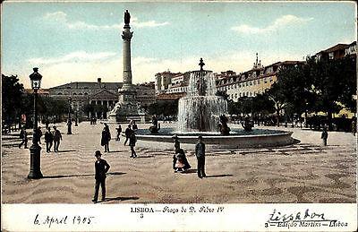 Lissabon Lisboa Portugal Portuguesa 1905 Praça de D. Pedro Rossio Platz Statue
