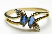 14k Yellow Gold Blue Diamond Ring
