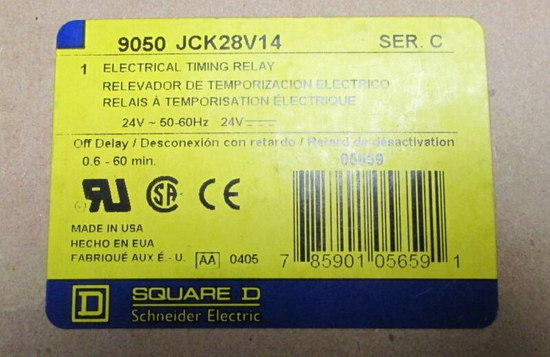 SQUARE D Electrical Timing Relay 9050 JCK28 V14 24 V
