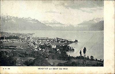 Vevey Schweiz Waadt Postkarte ~1900 Gewässer Alpen Berge Panorama Genfersee See