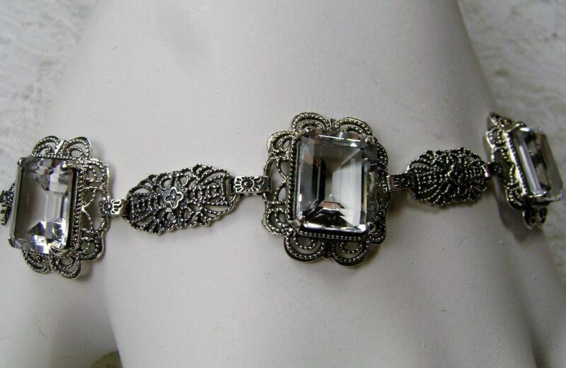 Natural White Topaz Art Deco Sterling Silver Filigree Bracelet {Made To Order}