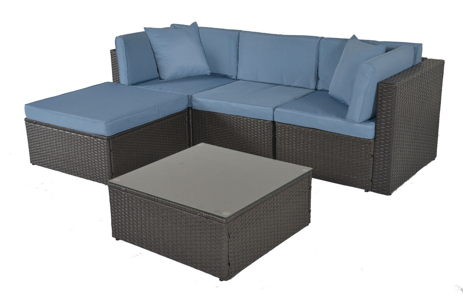Garden Furniture - 5 pcs Outdoor Patio Furniture Wicker Sofa Set Rattan Sofa Garden Sectional Set