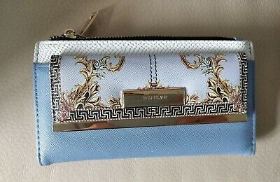 River Island Fold Out Printed Versace Style Light Blue purse