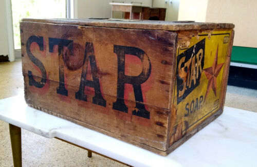 Antique Vintage Wooden Star Soap Shipping Crate w/Paper Label & Original Lid