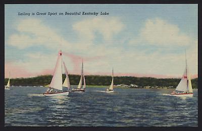 Sail boats Sailing on Kentucky Lake KY linen postcard