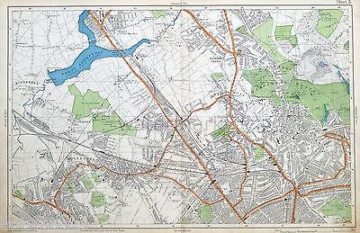 LONDON - HENDON, HAMPSTEAD, CRICKLEWOOD, WILLESDEN - Antique Map - Bacon, 1912.