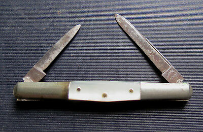 OLD PAULS BROTHERS CUTLERY 2 BLADE POCKET KNIFE Mother of Pearl Handle