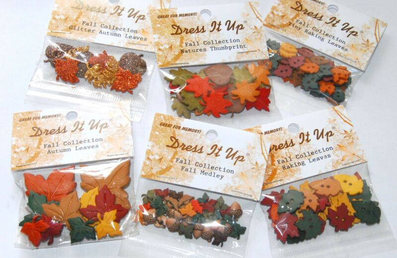 Fall / Autumn Leaves / Dress It Up Buttons by Jesse James / Choose Style