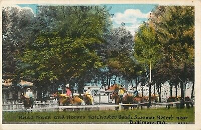 The Race Track & Horses, Tolchester Beach Amusement Park, Maryland MD 1917