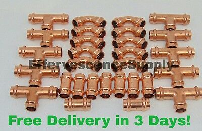 Lot Of 30 12 Propress Copper Fittings.tees Elbows Coupling Press Fittings