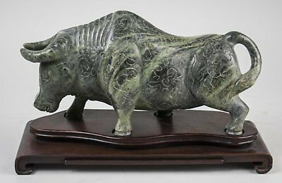 China Chinese Carved Green Stone Figure Of An Ox W  Custom Base Ca  20Th C