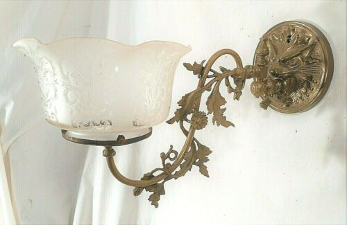 ANTIQUE BRASS LION HEAD GAS WALL SCONCE