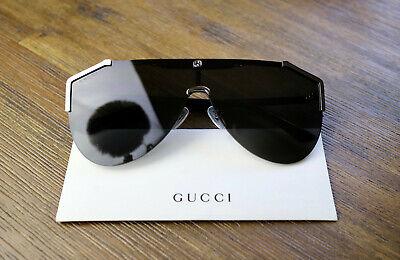 Gucci GG0584S 001 Grey Lens Ruthenium Oversized Shield Sunglasses Velvet case
