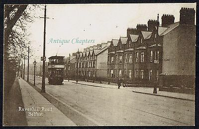 c.1920 Electric Tram Ravenhill Road Belfast Northern Ireland Postcard B25