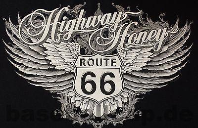Highway Route 66 Hot Rod (T-Shirt #728 HIGHWAY HONEY, ROUTE66 BIKER Hot Rod Dragster PinUp V8 Skull Custom)