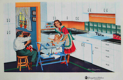 VINTAGE 1957 YOUNGSTOWN KITCHEN MULLINS PROMOTIONAL PLACEMAT LITHO REMIE HAMON 1