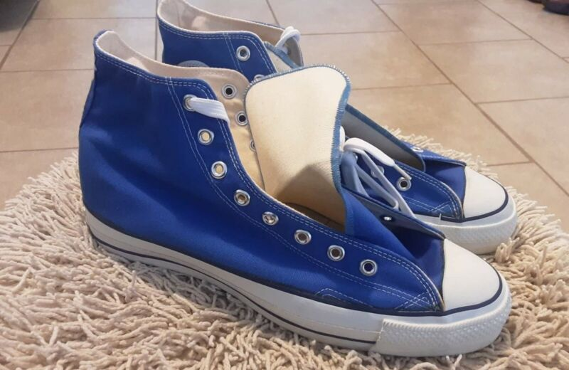 Vintage Chuck Taylor Converse All Star High Top Blue Athletic Shoes Size 12 USA