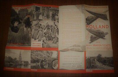 Vintage Illustrated Fold Out Brochure - Holland Netherlands - Railways Rembrandt