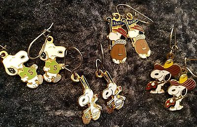 Vintage Aviva Peanuts Snoopy Earrings Lot - Rah!, Cowboy, Easter + #5
