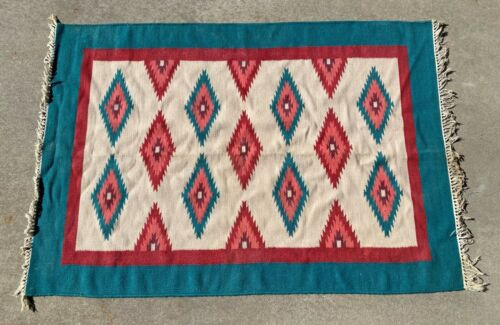 """Vintage Native American Hand Woven Area Rug Teal Red Beige Diamonds 70"""" x 49'"""